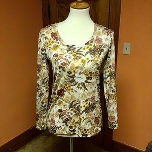 Vintage 70s earthy floral n leaves shirt